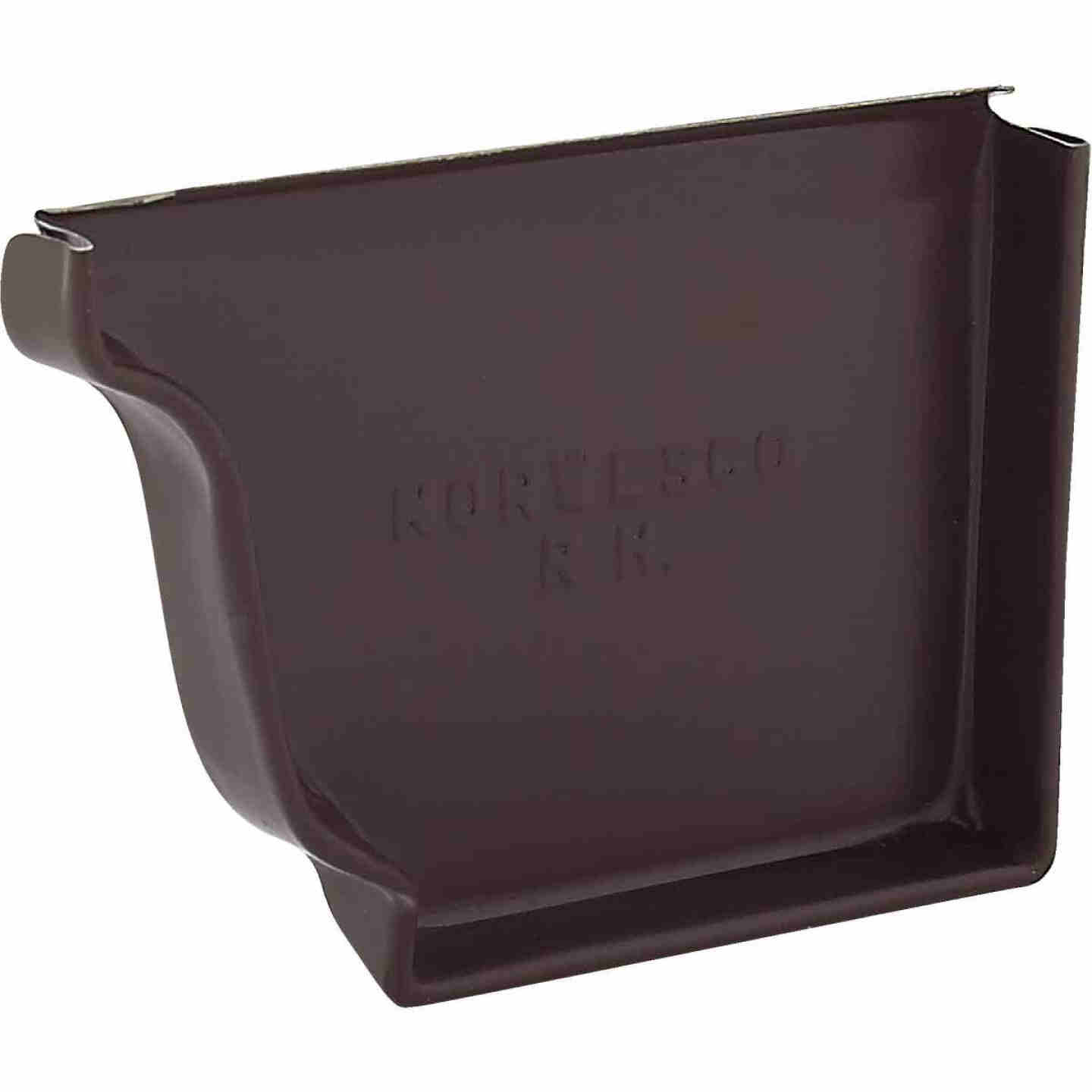 NorWesco 4 In. Galvanized Brown Right Gutter End Cap Image 1