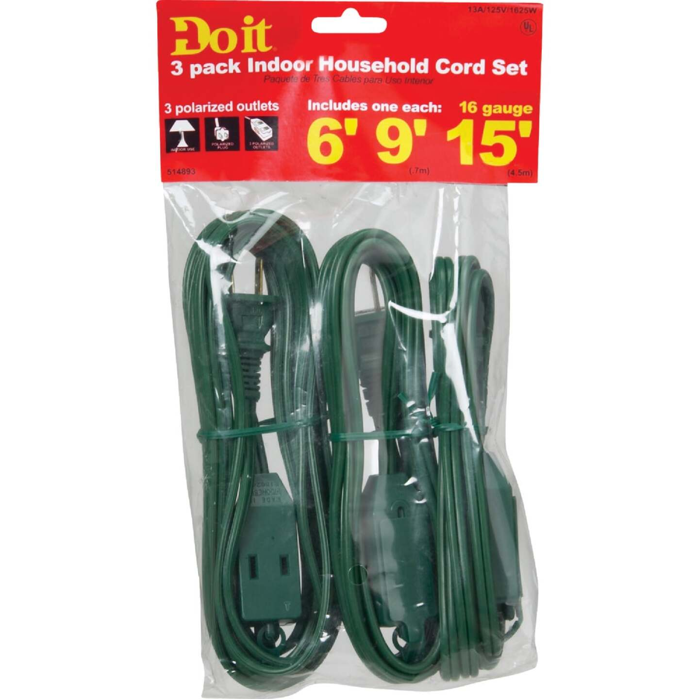Do it 6 Ft./9 Ft./15 Ft. 16/2 Extension Cord Set (3-Pack) Image 2