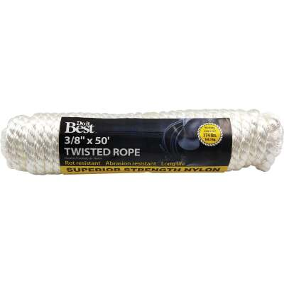 Do it 3/8 In. x 50 Ft. White Twisted Nylon Packaged Rope